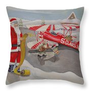 Santa's Airport Throw Pillow