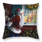 Santa's At The Window Throw Pillow