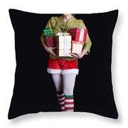 Santa's Helper Merry Christmas Elf Card Throw Pillow