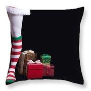 Santas Little Helper Throw Pillow by Edward Fielding