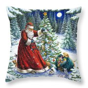 Santa's Little Helpers Throw Pillow by Lynn Bywaters