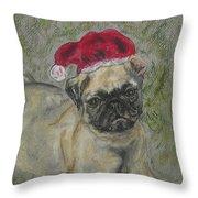 Santa's Little Pugster Throw Pillow