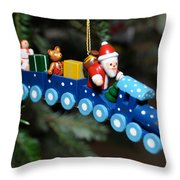 Santa's Train Delivery Throw Pillow