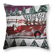 Santa's Truckload Throw Pillow