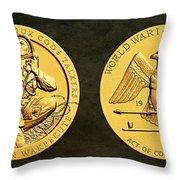 Santee Sioux Tribe Code Talkers Bronze Medal Art Throw Pillow