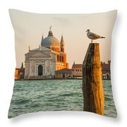 Santissimo Redentore At Sunset Throw Pillow