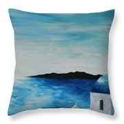 Santorini Blue Dome Throw Pillow