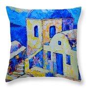 Santorini Afternoon Throw Pillow