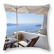 Santorini Balcony  Throw Pillow