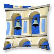 Santorini Bell Tower 2 Throw Pillow