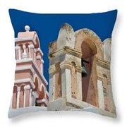 Santorini Bell Towers Throw Pillow