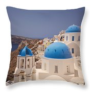 Santorini Blue Domes Throw Pillow