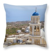 Santorini Church Overlooking The Sea Throw Pillow