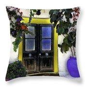 Santorini Doorway 2 Throw Pillow