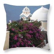 Santorini Greece Throw Pillow