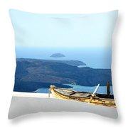 Santorini Rooftop Throw Pillow