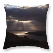 Santorini. Sunlight On Volcano Throw Pillow