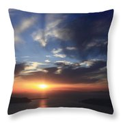 Santorini Sunset Cyclades Greece  Throw Pillow