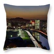 Sao Paulo Skyline At Dusk - Jockey Club - Pinheiros River Towards Pico Do Jaragua Throw Pillow