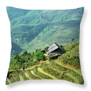 Sapa Rice Fields Throw Pillow