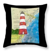 Sapelo Island Lighthouse Ga Nautical Chart Map Art Cathy Peek Throw Pillow