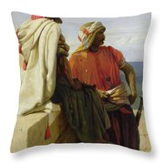 Saracens In Front Of Their Position Throw Pillow by Wilfred Vincent Herbert