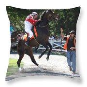 Saratoga Race Track Paddock Throw Pillow
