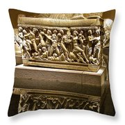 Sarcophoghus Reflected In Antalya Archeological Museum-turkey  Throw Pillow