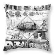 Sardine Fishery, 1880 Throw Pillow