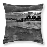Sarnia Harbour B And W - Canada Throw Pillow