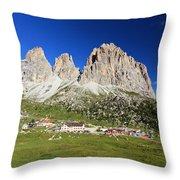 Sassolungo From Sella Pass Throw Pillow