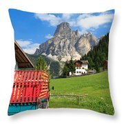 Sassongher Mount From Corvara Throw Pillow