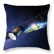 Satellite Communications With Earth Throw Pillow by Johan Swanepoel