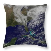Satellite View Of A Noreaster Storm Throw Pillow