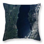 Satellite View Of Lake Michigan Throw Pillow