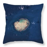 Satellite View Of Rocas Atoll In South Throw Pillow
