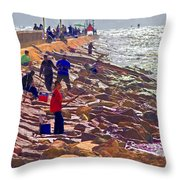 Saturday Morning On The Surfside Jetty Throw Pillow