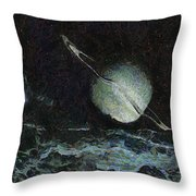 Saturn-y Throw Pillow by Ayse Deniz