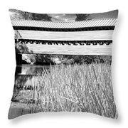 Saucks Bridge And Reeds Throw Pillow