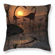 Sauropod And Duckbill Dinosaurs. Throw Pillow
