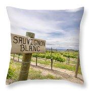 Sauvignon Blanc Grapes Growing In Vineyard Throw Pillow