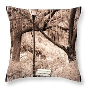Savannah Bench Sepia Throw Pillow