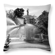 Savannah Fountain - Black And White Throw Pillow
