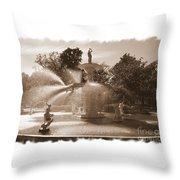 Savannah Fountain In Sepia Throw Pillow