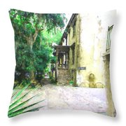Savannah Georgia Outside The Antique Dealer Throw Pillow