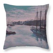 Savannah Harbor 1900 Throw Pillow
