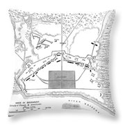 Savannah Siege Map, 1779 Throw Pillow