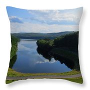 Saville Dam Scenic Throw Pillow by Stephen Melcher
