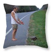 Saving The Turtle Throw Pillow