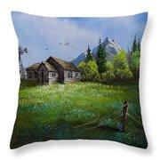 Sawtooth Mountain Homestead Throw Pillow